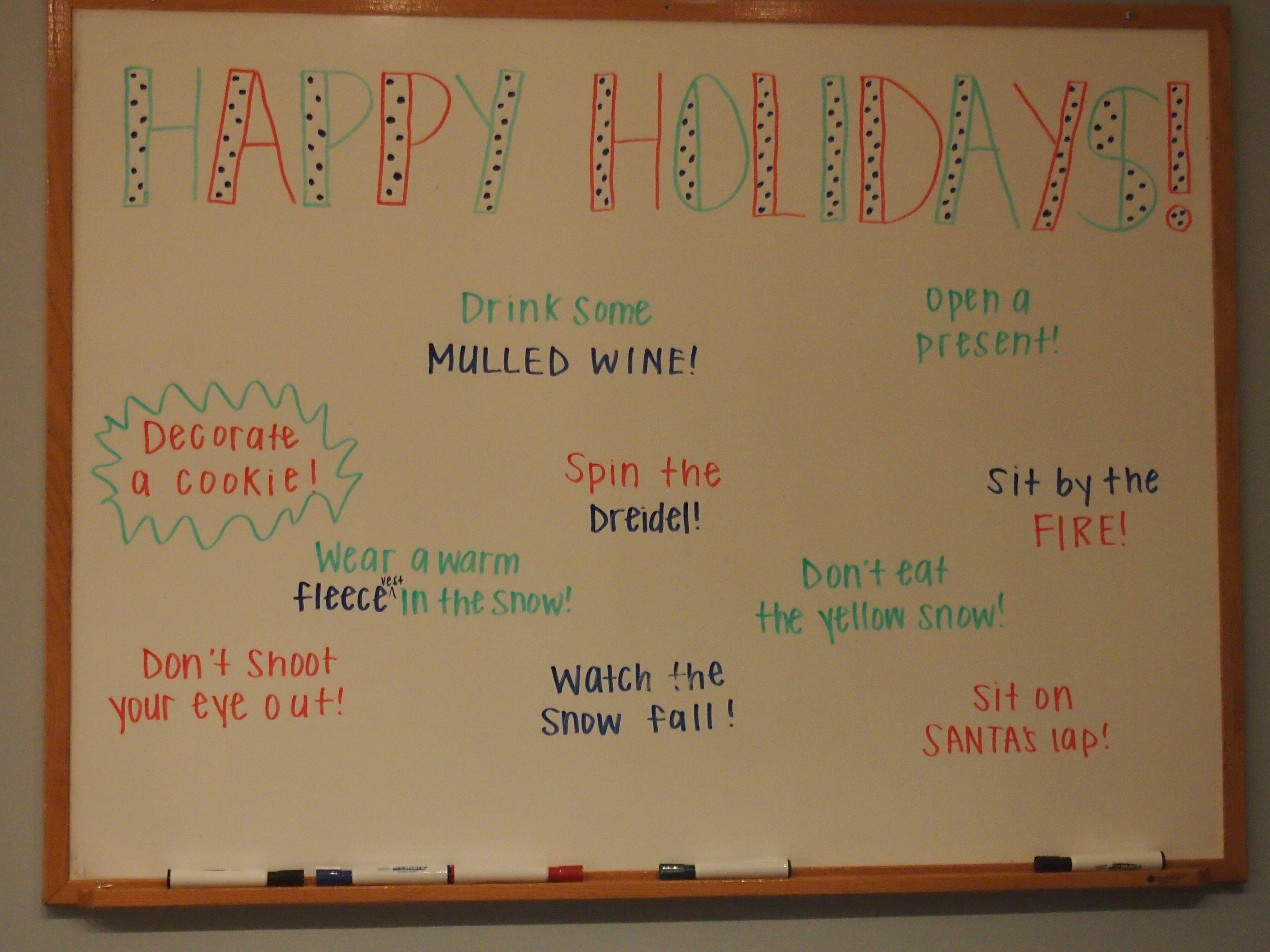office whiteboard ideas. Fun Office Ideas - Holiday Whiteboard! #officeideas #worklife #funattheoffice Whiteboard U