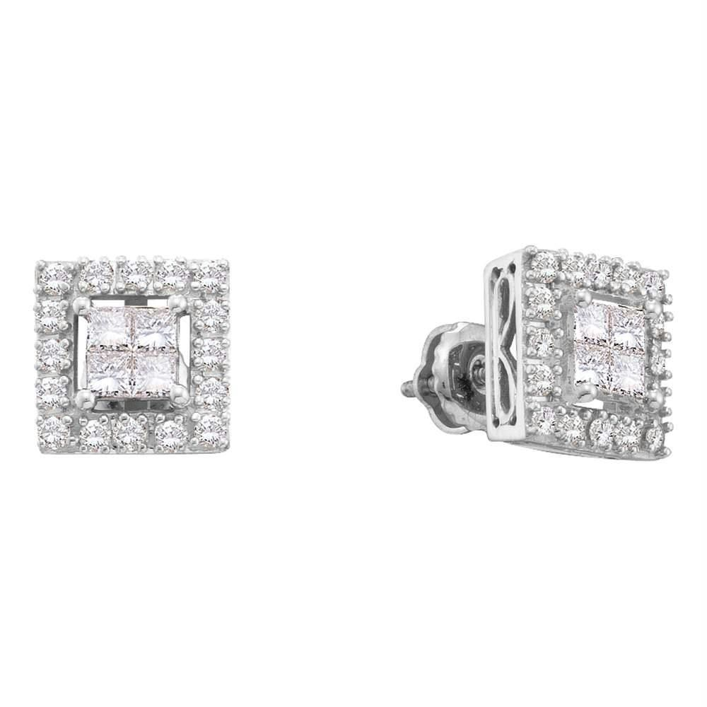 Solid 14K White Gold Earrings Genuine Diamond Princess Cut Invisible Setting .
