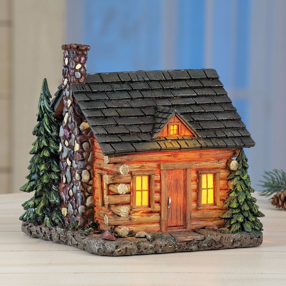 Rustic Log Cabin In Pines Tabletop Night Light Northwoods Lodge Table  Decor#LogCabin #Rustic #Log #Cabin #Pines #Tabletop #Night #Lights  #Northwoods Lodge ...