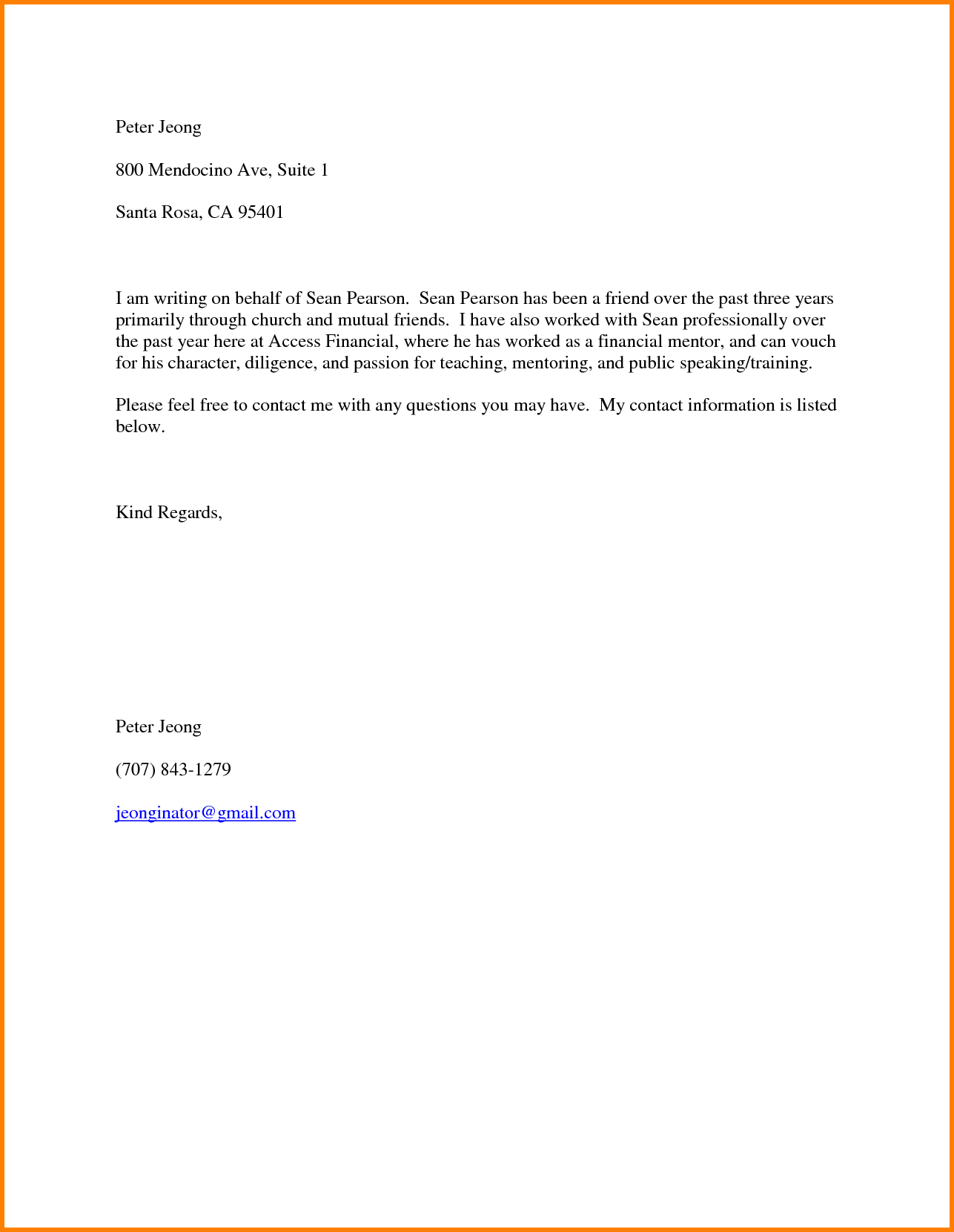 Personal Recommendation Letter Or Character Reference Can Be For Child Care  Position · Friend De Letter Of Recommendation For  Character Letter Of Recommendation
