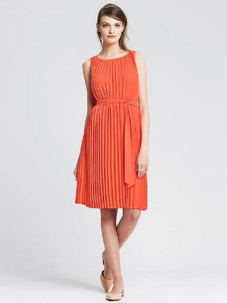 0d850fc2dbe BANANA REPUBLIC Bright Coral Dream Orange Accordion Pleated Trapeze Dress M  8  fashion  clothing  shoes  accessories  womensclothing  dresses (ebay  link)