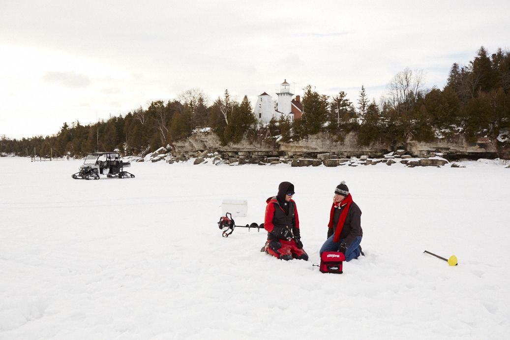 Ice fishing is a popular winter sport in Door County