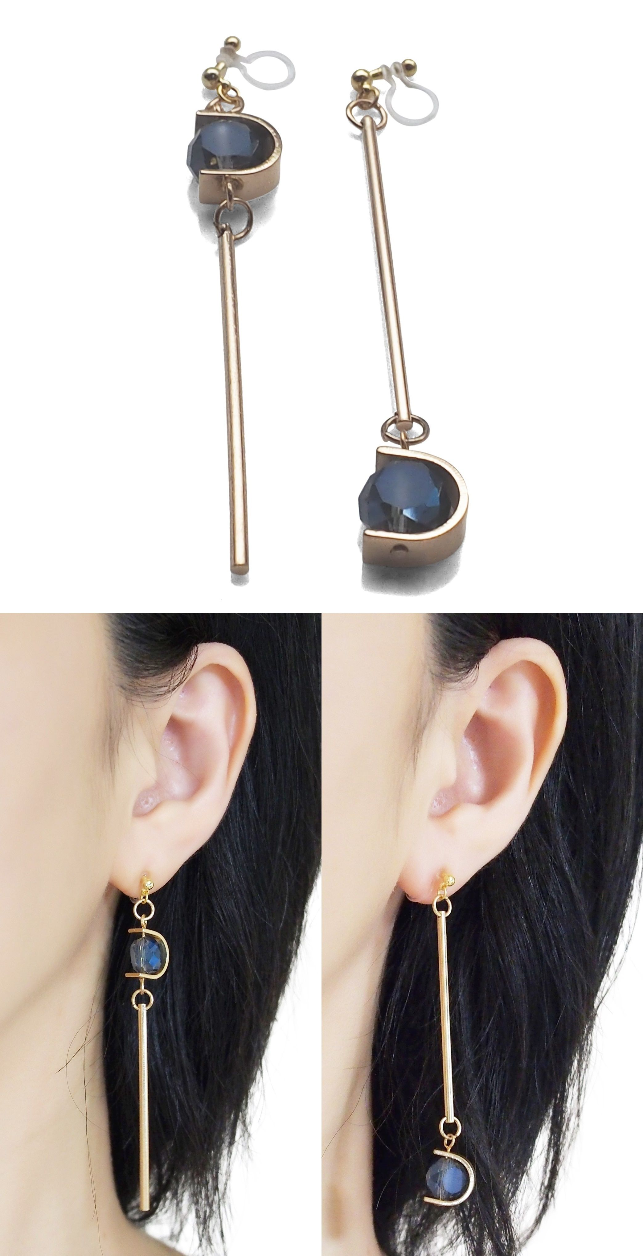 Screw Back Clip on Earring Clip for No Piercing Drop Asymmetry Dangle Long Bead Gold-tone for Girl