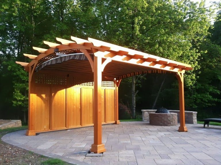 Hearthside Wood Pergola With Privacy Panel, Lattice, And Shade Canopy  Http://
