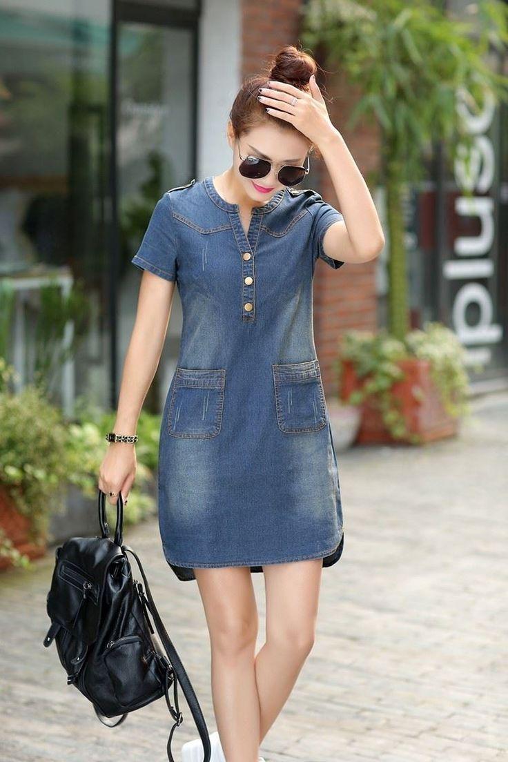 Summer Denim Dress Vintage Turn Down Collar Short Sleeve Pockets Jeans Denim Dress Summer Denim Dress Outfit Jean Dress Outfits [ 1104 x 736 Pixel ]