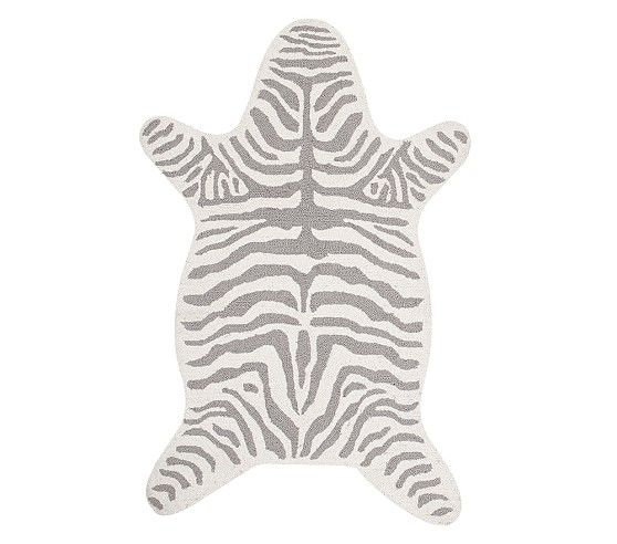 Gray And White Zebra Rug