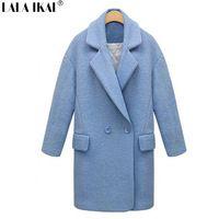 Bayan Uzun Desen Toplama Yaka Kadin Yun Coat Cift Breasted Cep Yun Ceket Kadin Swn0028 5 Kadin Ceketleri Manto Shopping