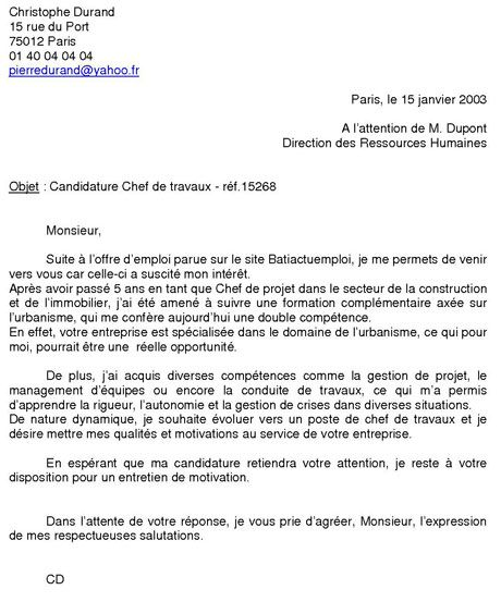 Exemple De Lettre De Motivation Projet Professionnel: Exemple De Lettre De Motivation