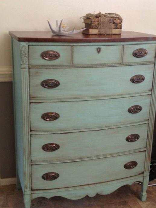 Two Tone Glazed Dresser Sherwin Williams Aqueduct In Flat Mixed With Plaster Of Paris And Refinished