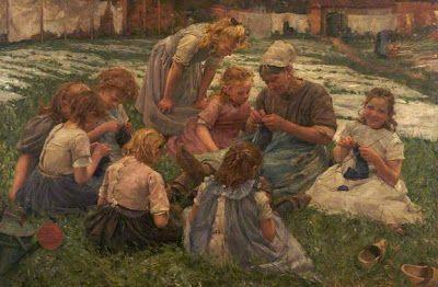 The kniting les Pierre Jacques Dierckx.   Dit schilderij was te zien op de wereld tentoonstellingen van 1874 en 1910 en behaalde een prijs.