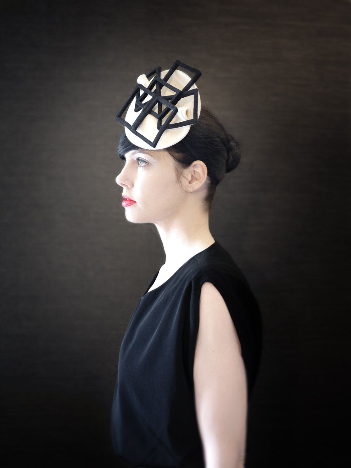 ff880c3737f Cream Felt Hat with Black Geometric Fan Accent - Fractal Series - Made to  Order by pookaqueen on Etsy