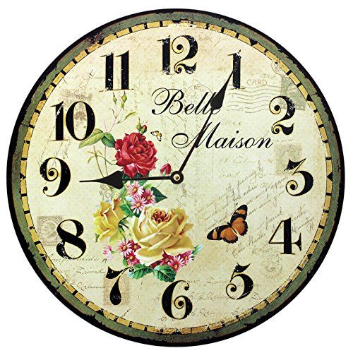 Home Decoration Vintage Style Shabby Chic MDF Belle Maison Scene Wall Clock Obique http://www.amazon.co.uk/dp/B00O53A6UM/ref=cm_sw_r_pi_dp_l-f8ub1653WMY