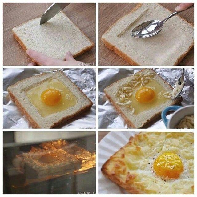 Pão com ovo assado