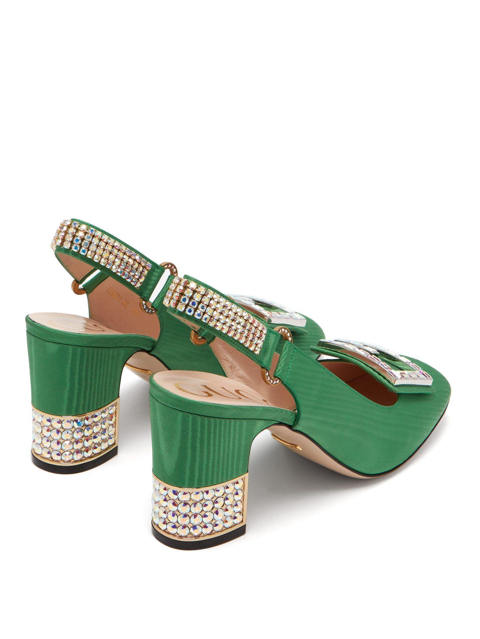 a7e78e2fe7 Madelyn crystal-embellished moiré slingback pumps | Gucci |  MATCHESFASHION.COM UK
