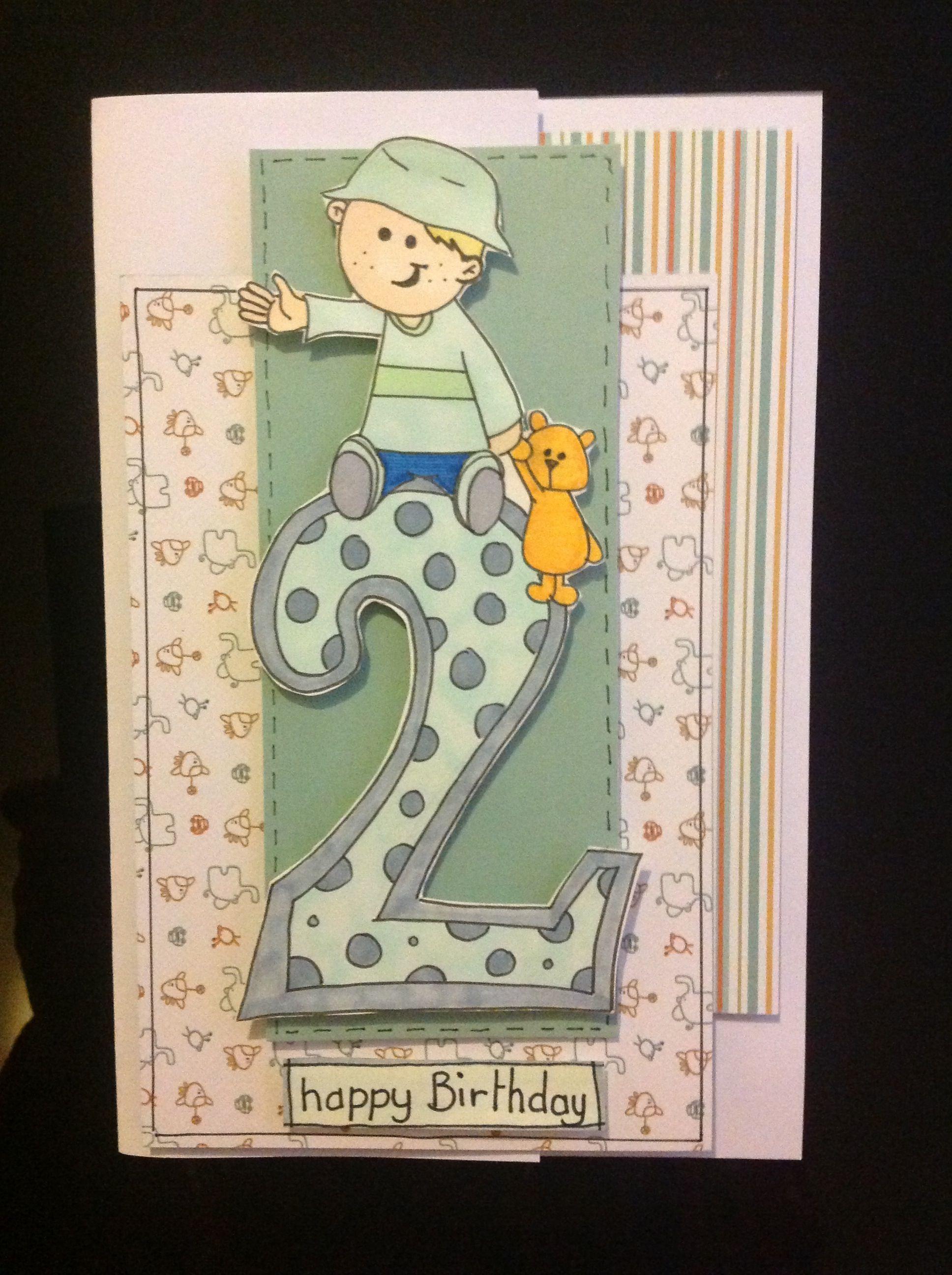 Homemade Hand Drawn Boy 2nd Birthday Card