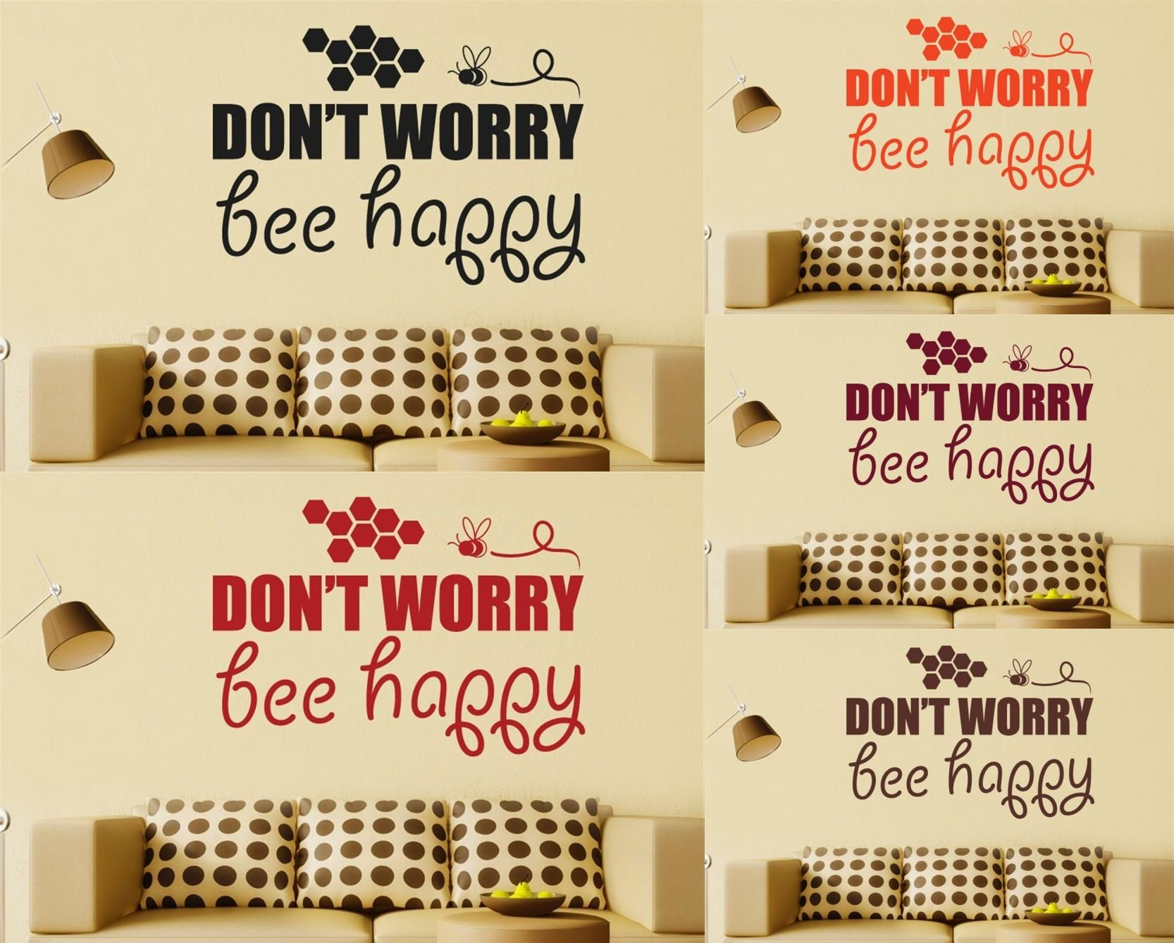 Visit to Buy] Dont Worry Bee Happy Vinyl Quote Wall Decal Sticker ...