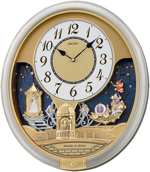 The Seiko QXM241SRH Melodies in Motion Musical Clock features a