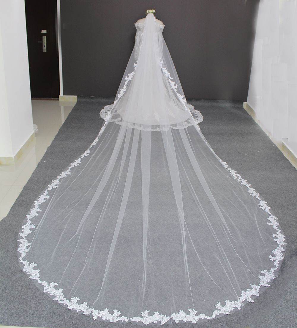 Real Photos Luxury  Meters Full Edge With Lace Long Wedding Veil With Comb White Ivory Bridal Veil Veu De Noiva