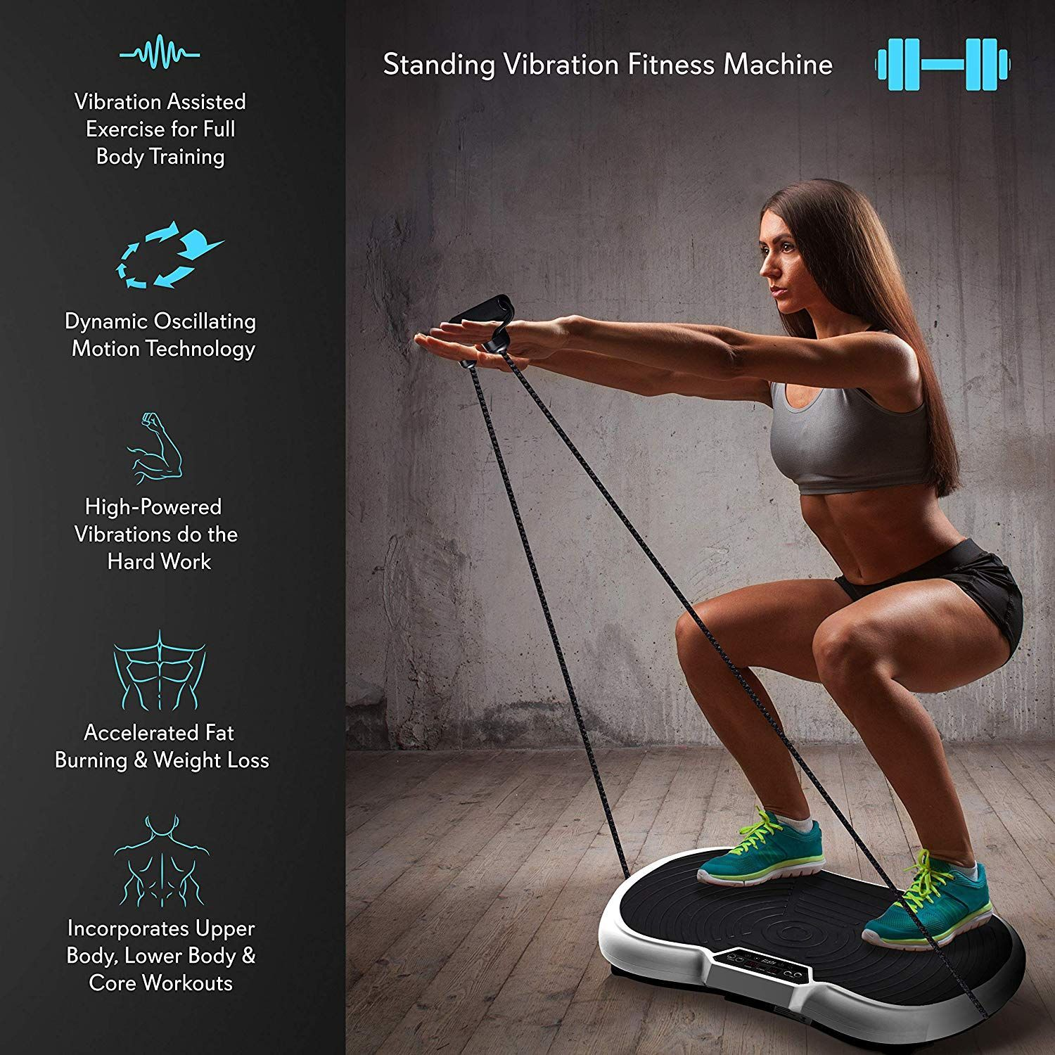 Hurtle Fitness Vibration Platform Workout MachineExercise Equipment For...