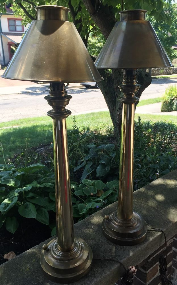 Pair Of 31 1 2 Modernistic Brass Lamps By Chapman With Brass Shades Dimmer Brass Lamp Lamp Dimmer