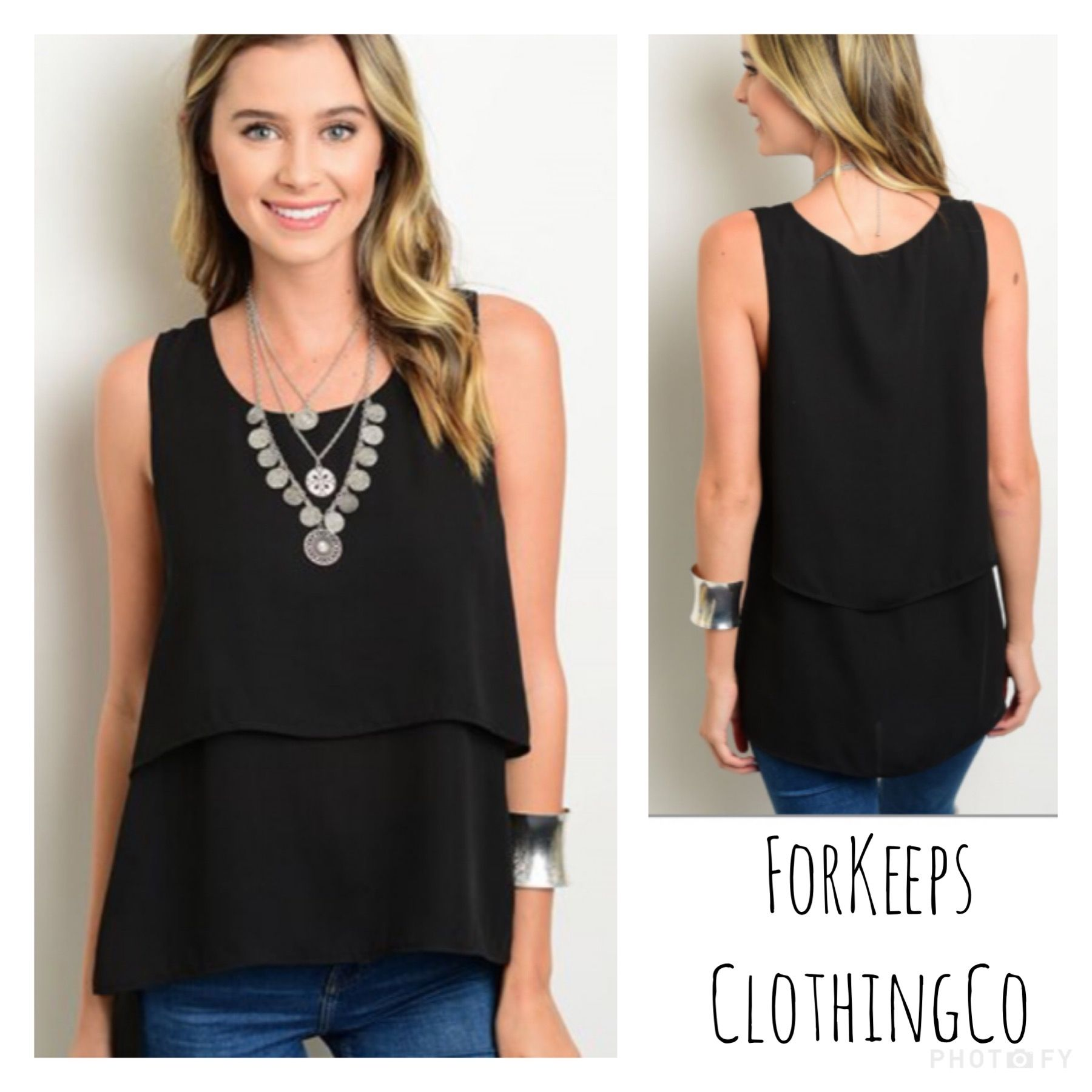 This is one of my favorite tops this season! PERFECT to dress up fordate night or easily dressed down with shorts for a bbq!    Black straight-cut, hi-lo top with side slits. So so so GORG!!    And only $18.00 with FREE SHIPPING in the US!! Int'l rates will apply.    Size Small fits 2/4    Size Medium fits 6/8    Size Large fits 10/12 | Shop this product here: spreesy.com/Forkeepsclothingco/185 | Shop all of our products at http://spreesy.com/Forkeepsclothingco    | Pinterest selling…