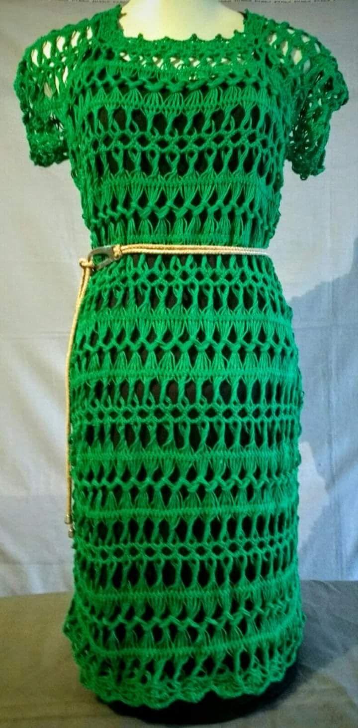 Vestido verde de crochê de grampo … | Pinteres…