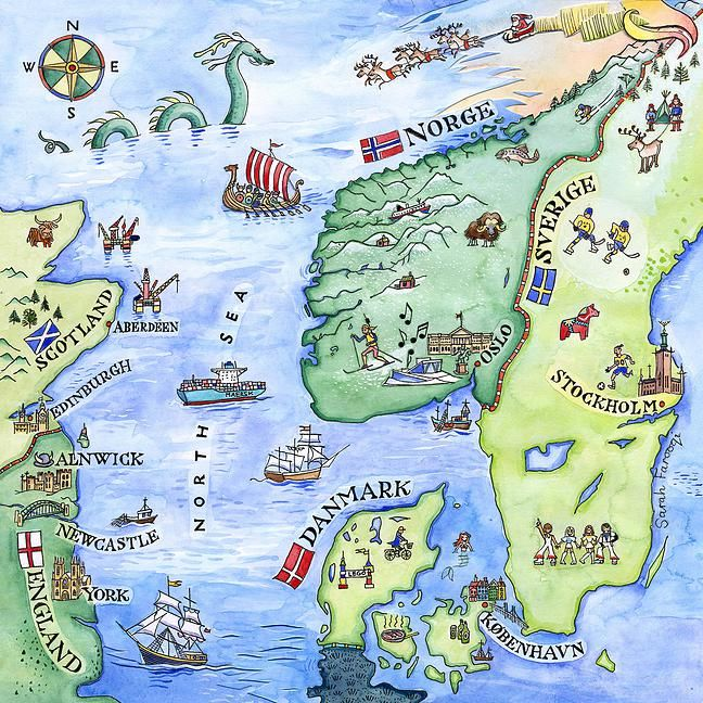 Scandinavia illustrated map showing Britain Norway Denmark and