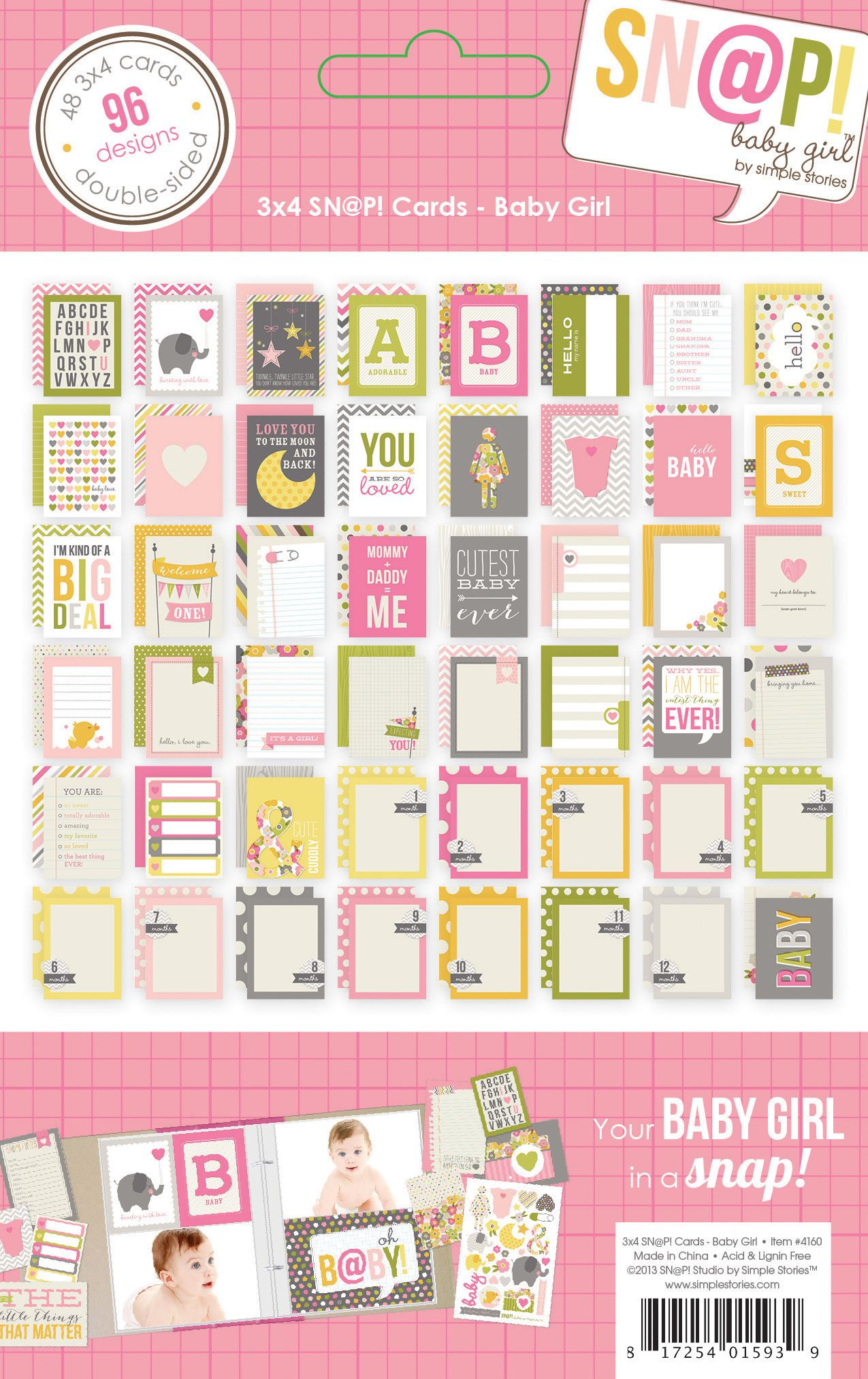 Simple Stories   Baby Girl   3x4 SN@P! Cards