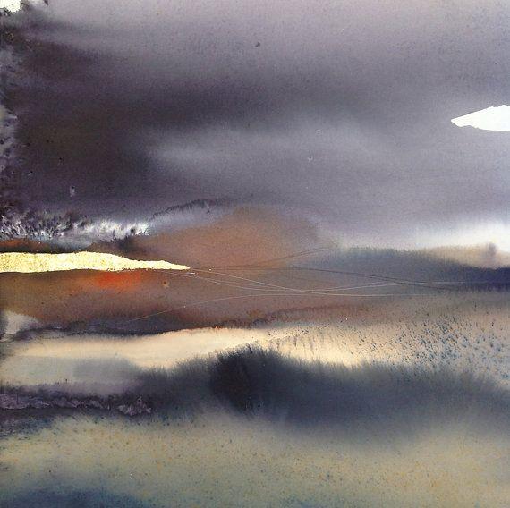 Abstrait Paysage Art Contemporain Abstrait Aquarelle Aquarelle
