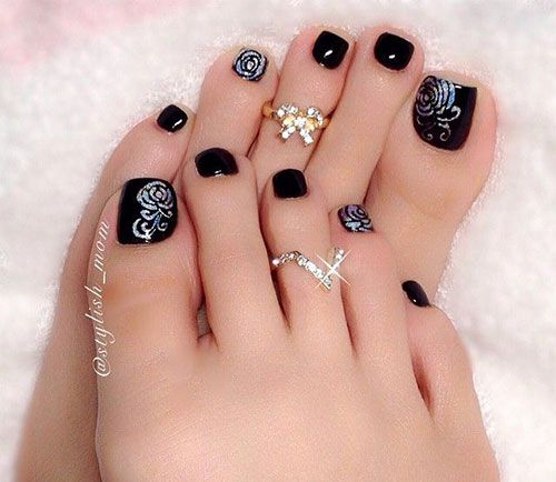 Pretty pedicure: hot pink, black w/white polka dot French tips and  rhinestones. Description from pinterest.com. I searched for this on  bing.com/images - Pretty Pedicure: Hot Pink, Black W/white Polka Dot French Tips And