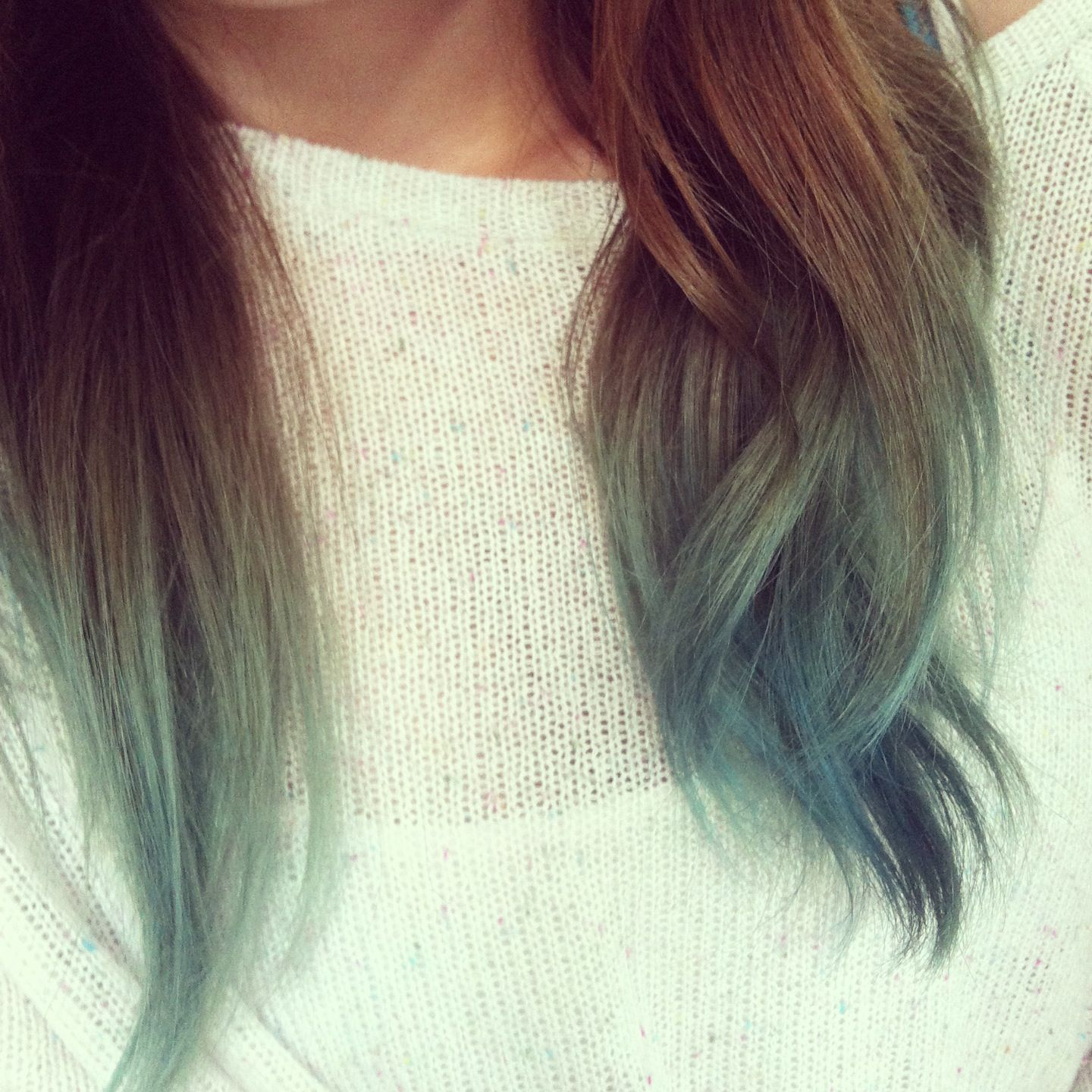 faded blue dip dye