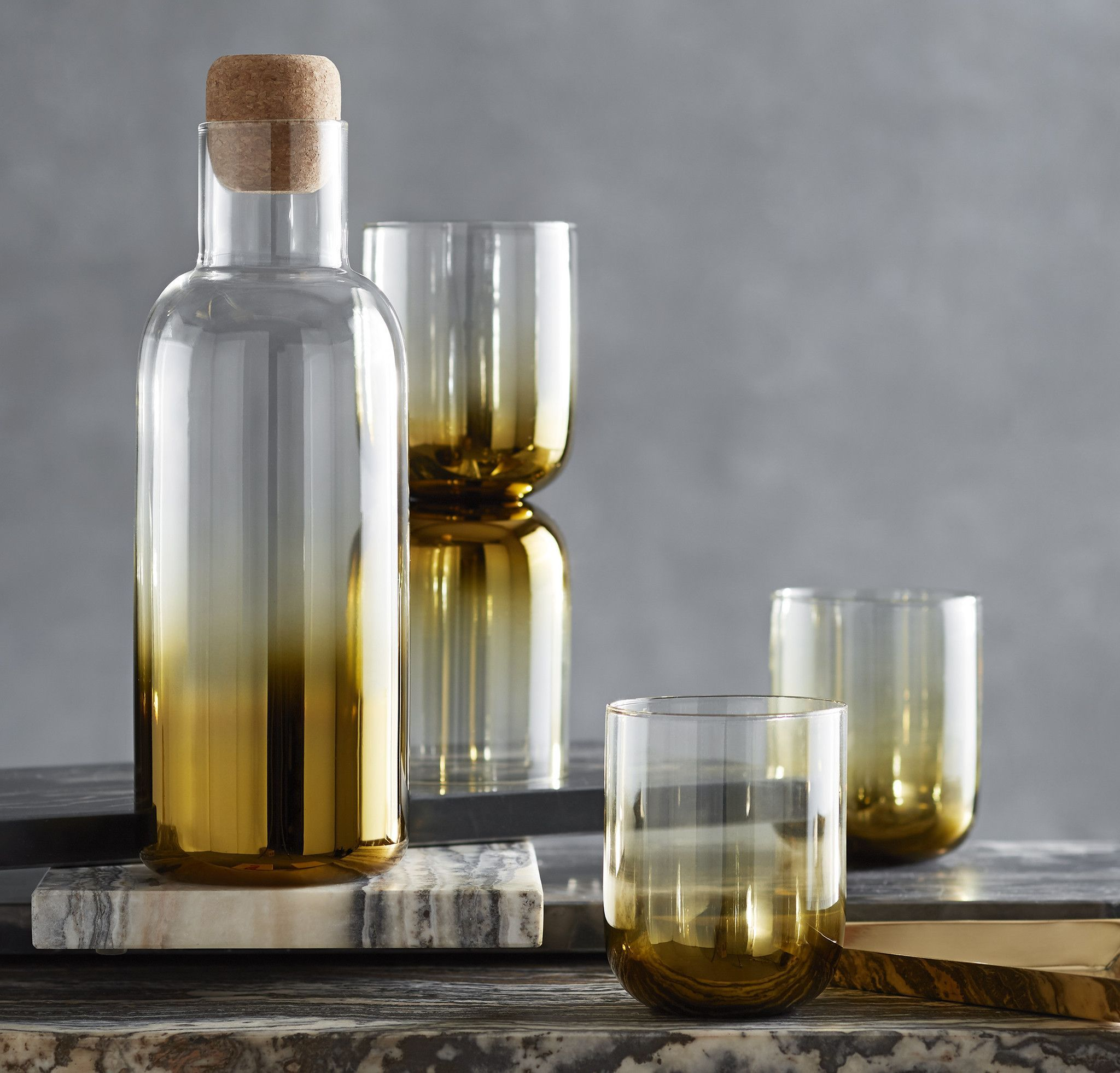 Golden Ombre Glass Glass material, Decanter, Cork stoppers
