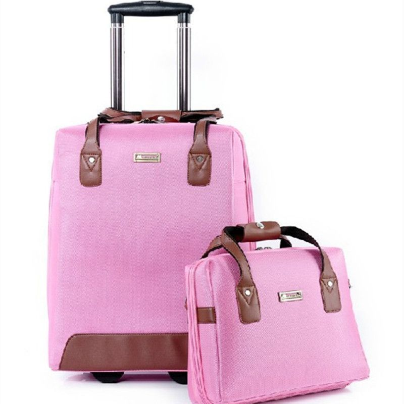 fbbe8154037 A set of valiz bag Fashion Business Oxford travel bags women suitcase  Spinner wheels Students trolley rolling luggage bag Mute
