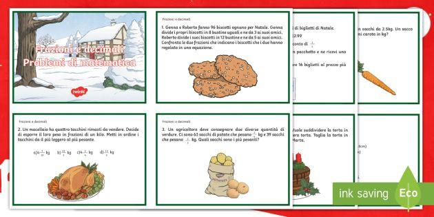 Problemi di matematica con frazioni e decimali di Natale ...