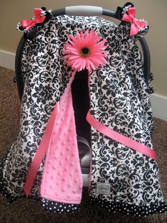 Infant Car Seat Canopy Cover Cuddler Black White Damask With Pink Minky And Polka Dot Trim