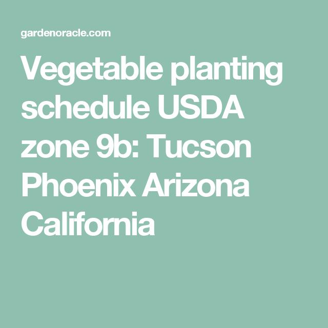 Vegetable Planting Schedule Usda Zone 9b Tucson Phoenix Arizona California