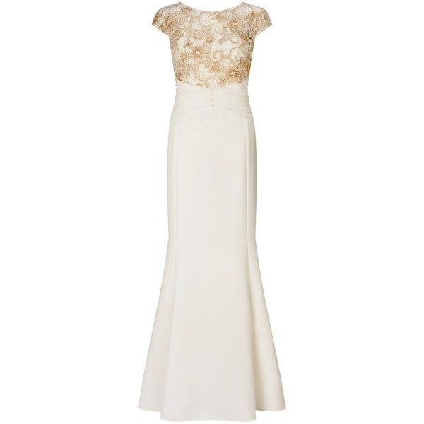 506e06ae4176 Ariella Melina Lace Maxi Dress, White/Gold ($360) ❤ liked on Polyvore  featuring dresses, gowns, white cocktail dresses, midi evening dresses, white  gown, ...