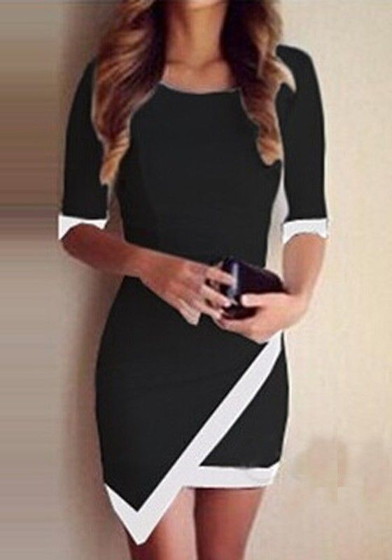 Super Cute! Love this Dress! Sexy Black and White Color Block Irregular Hem Bodycon Slim Dress