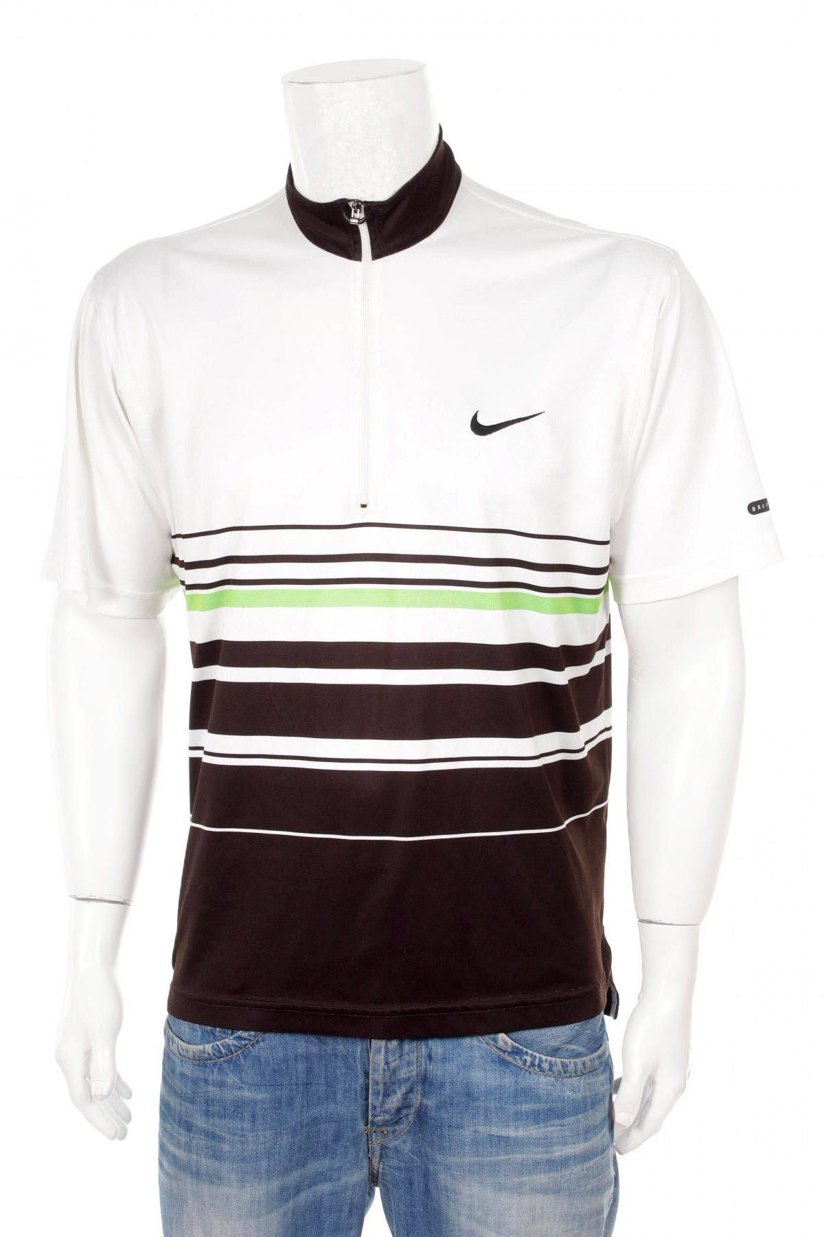 Vintage 90s Nike Andre Agassi series 1/4 zip Shirt tennis Swag Hip Hop  Sport Surfing Shirt Streetwear T-Shirt White/Brown/Green Size M