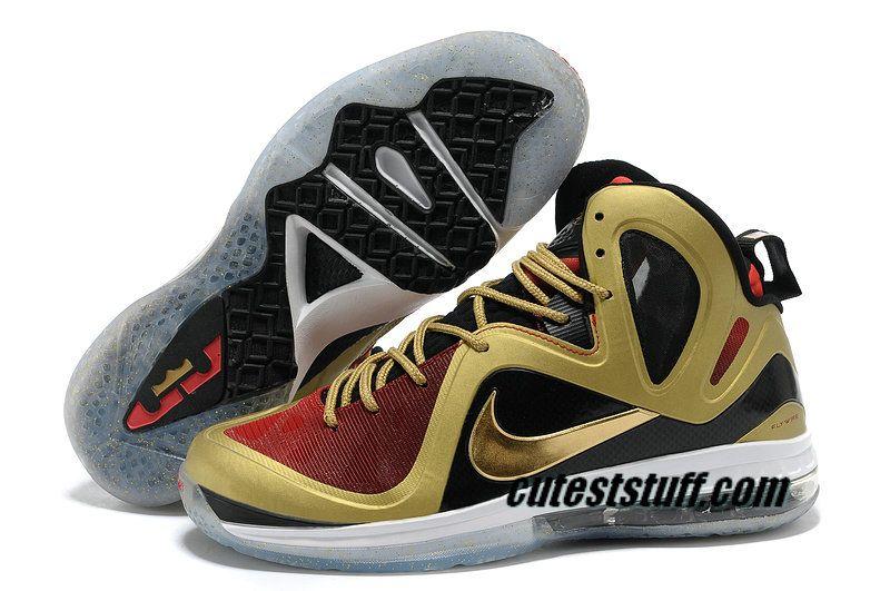 Cheap LeBron 9 P  Elite Gold Black Red