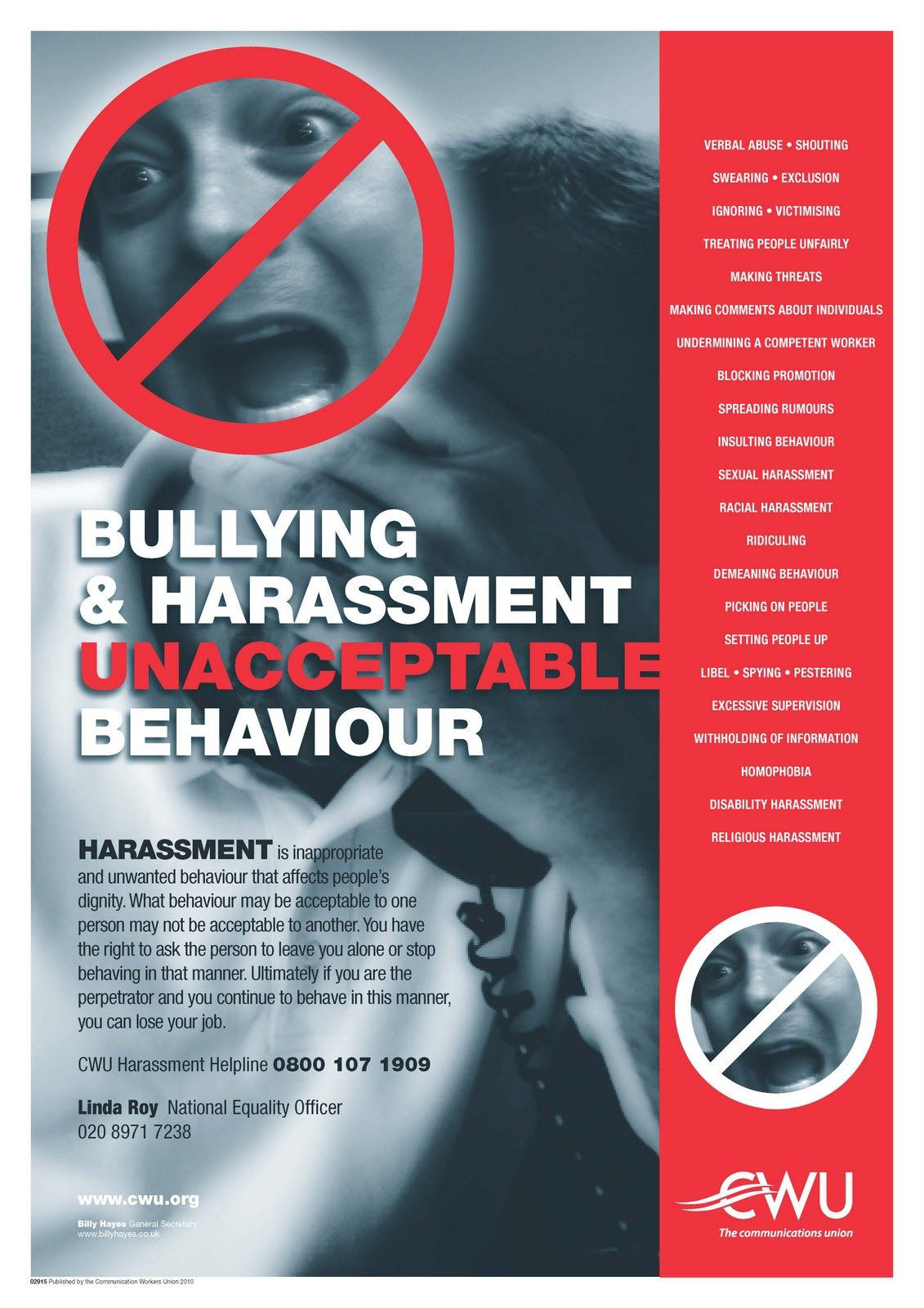 bullying harassment are not acceptable behavior poster in poster in the right panel describes various bullying boss behaviors the list is very very long and of course only a sampling of the bullying