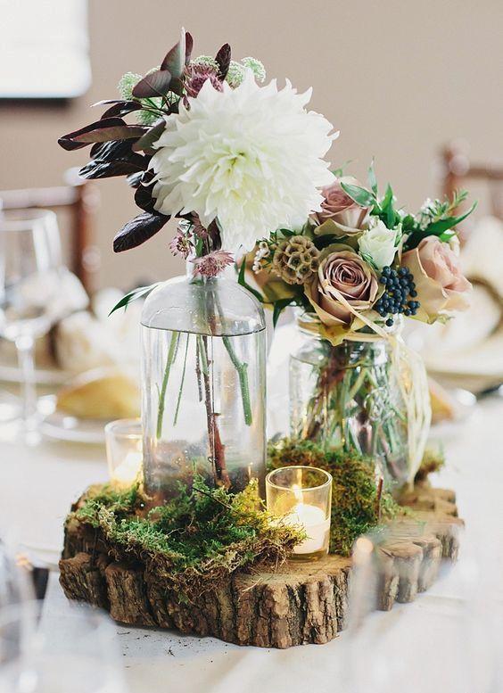 30 acogedoras ideas de decoración de mesa de boda rústica