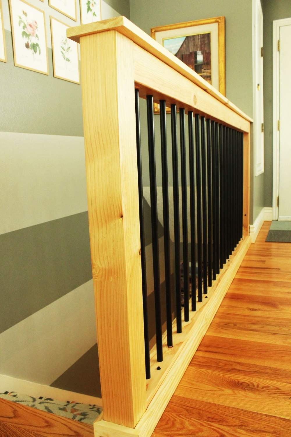 DIY Stair Handrail with Industrial Pipes and Wood   Diy stairs ...