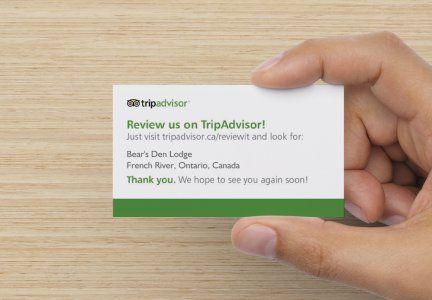 Tripadvisor Reviews For Bear S Den Lodge Leave Us A Comment Photo Credit To Vistaprint Com Trip Advisor Personal Business Cards Vistaprint