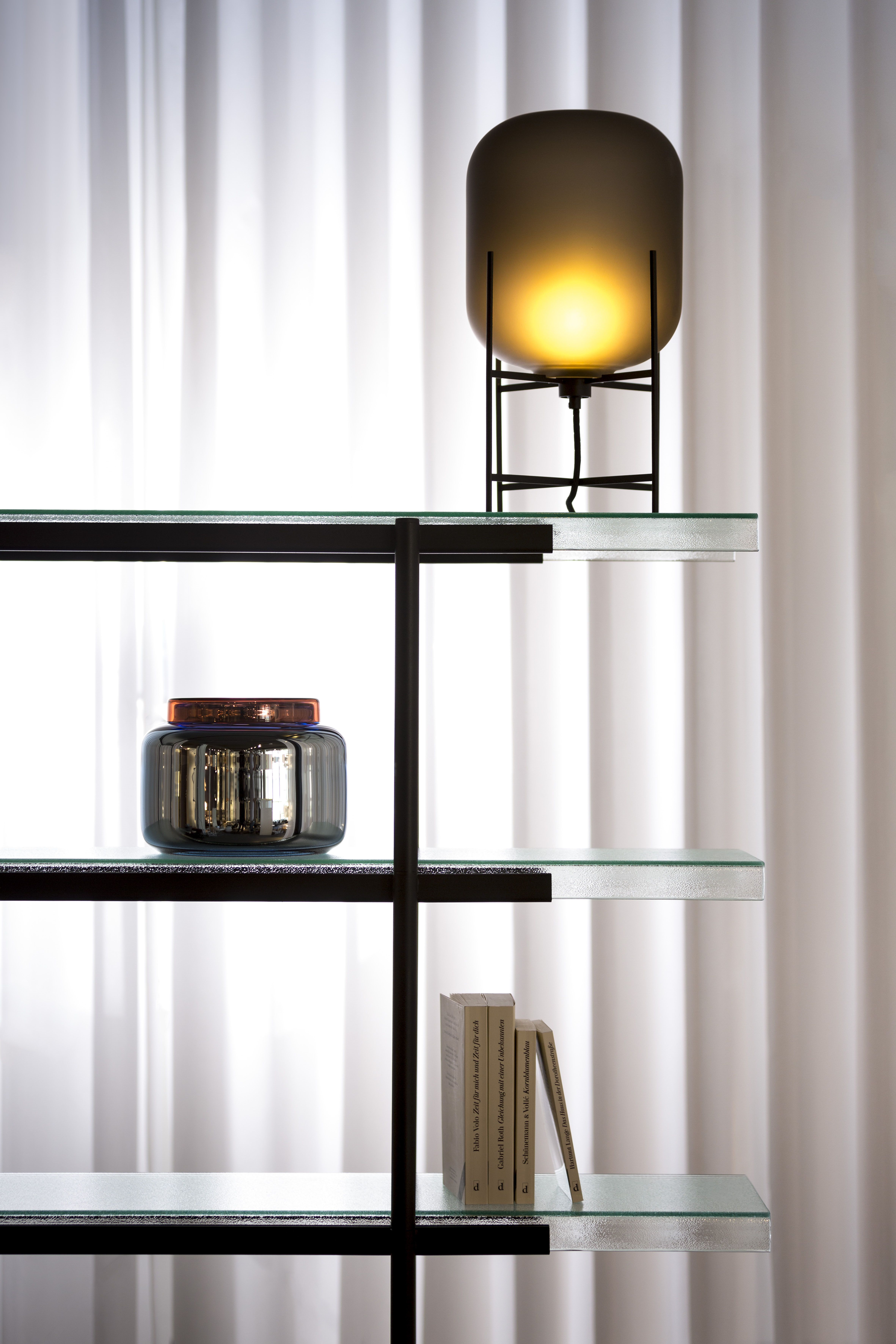 Storage Detail Of Passerelle By Sebastian Herkner For Pulpo Materials Colors Glass Black Powder Coated Steel Steel Table Blue Glass Glass Table Lamp