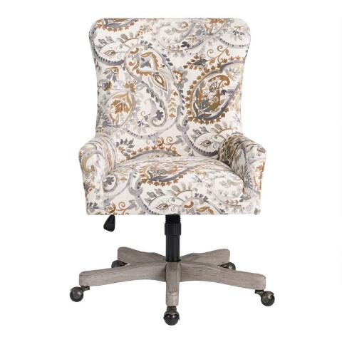 Decals For Baby Room, Natural Paisley Trystan Upholstered Office Chair World Market In 2020 Upholstered Office Chair Big Office Chairs Best Office Chair