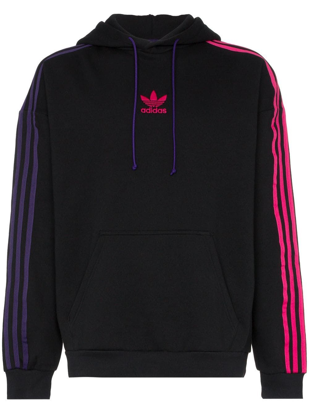 ADIDAS Purple Hoodie Striped Sleeve Sweatshirt