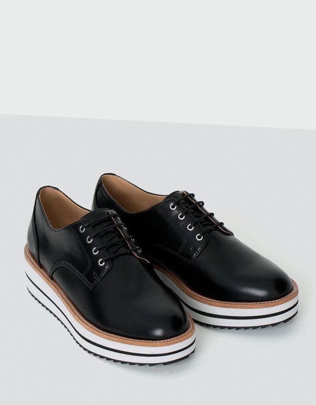 PullBear mujer calzado zapatos planos planos planos blucher moda cerco cfdd11