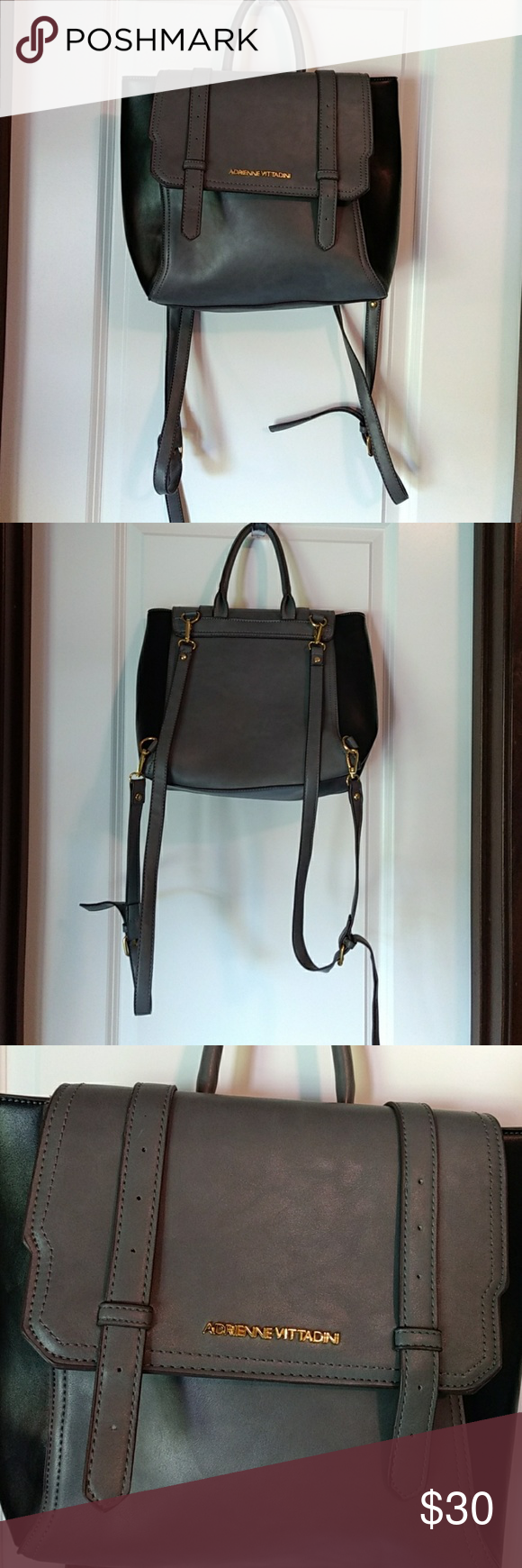 Adrienne vittadini backpack Grey and black backpack that can be ...
