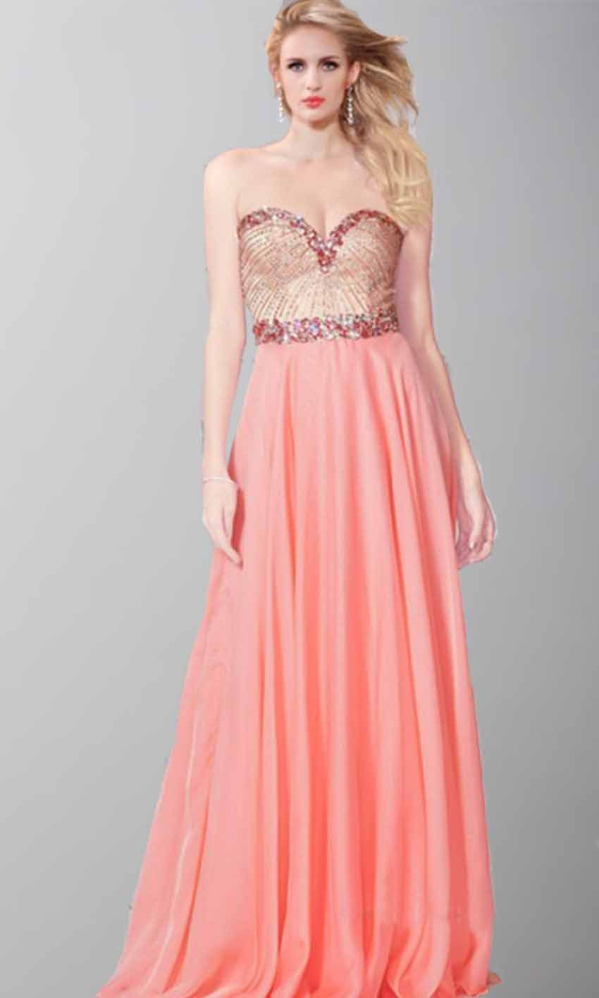 Jewel and sequin sweetheart long prom dresses ksp409